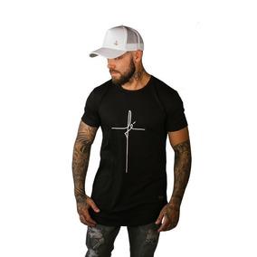 Camisa Camiseta Fé Longline Oversized Masculina