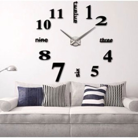 Reloj Grande De Pared Decorativo Sticker 3d Adhesivo 110 Cms
