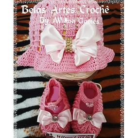 Sapatinho E Chapeu De Croche Para Bebe - Roupas de Bebê no Mercado ... fba468cdf08