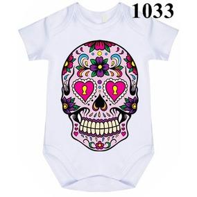 8b4606c66fb27 Body Bebê Personalizado Caveira Mexicana Rosa Coração