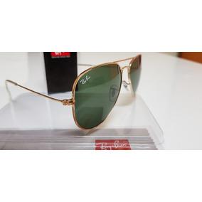 4ffd3519ce8fb Óculos De Sol Ray-ban Aviator Rb3025 Ouro Lentes Verdes G15.