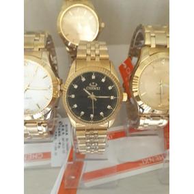 Relógio Dourado Banhado A Ouro Chenxi Prova Dágua