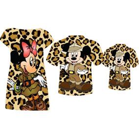 Vestido Mãe E Blusa Pai E Filho - Mickey E Minnie Safari 2