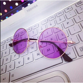 4476a70079e1b Óculos De Sol Redondo Unissex Estilo Lennon Roxo Purple