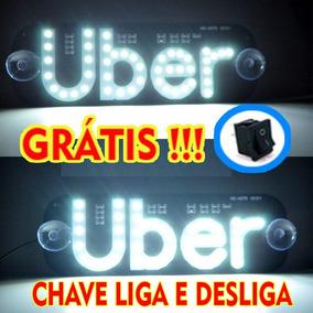 Placa Veicular Uber Led Branco Envio Hoje Frete Grátis