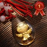 Dije Angel De Oro Laminado Oro 24k Capsula De Cristal