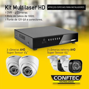 4 Câmeras Ahd + Dvr 1080p + Fonte+ 100m Cabo Aquicompras