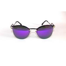 37526d5b092f9 Óculos De Sol Feminino Metal Haste Curvada Lente Roxa F4187