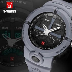 Relógio Swaves Cinza Militar Frete Grátis