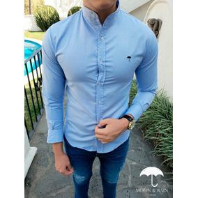 Camisas Slim Fit Azul Lisa Mao Moon & Rain