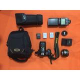 Cámara Nikon D5500+lentenikon35mm1.8g+flash+3 Pilas+maleta