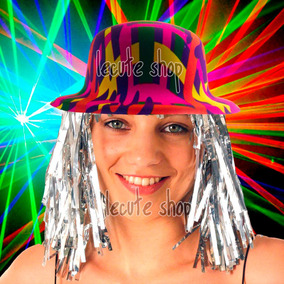 10 Sombreros Bombin Peluca Plastico Disfraz Batucada Fiesta