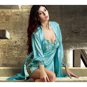7416a5e19 Conjunto Robe E Camisola Em Seda C  Rendas Verde Água G