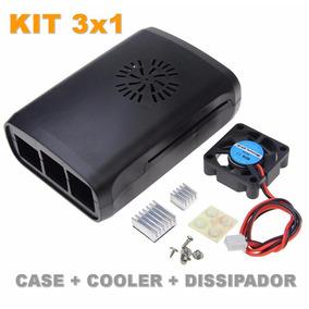 Kit 4 Und Case Raspberry Pi3 Pi2 + Dissipador E Cooler Fan