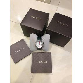 Reloj Gucci Chrono 101 M Con Diamantes Carátula Blanca Piel