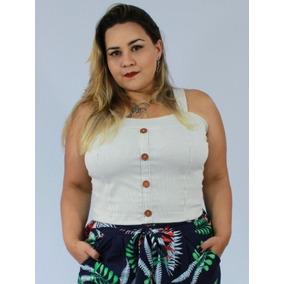 Cropped Plus Size Feminino Em Bengaline Gg Xg