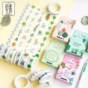 Washi Tape Fita Decorativa Árvores Floresta Desenhos
