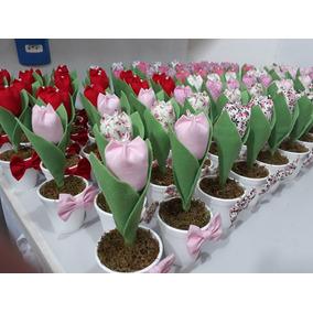 25 Vasinho Com Tulipa Em Tecido Lembrancinha