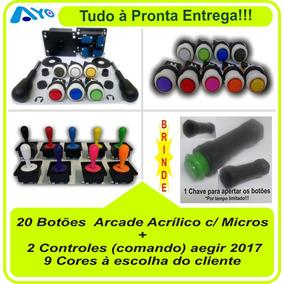 Kit 20 Botões Arcade C/ Micros + 2 Controles