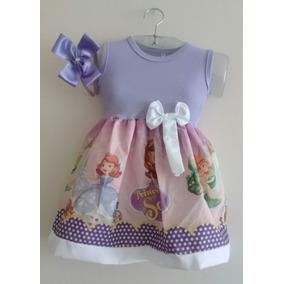 Roupa Infantil Vestido Fantasia Tema Aniversário Sofia.