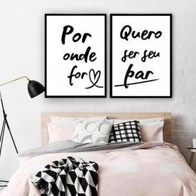 Kit Quadros C/ Vidro Quarto Casal Frase Romantica Namorados