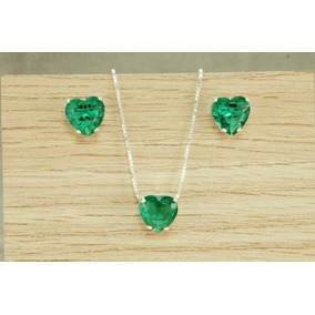 Conjunto Colar Brinco Coração Pedra Fusion Verde Claro Prata