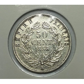 P513 França Prata Moeda 50 Cent 1858 Império Napoleon I I I