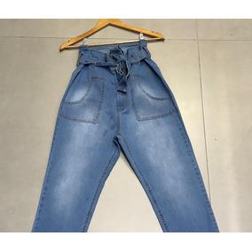 Calça Feminina Jeans Clochard Cintura Alta Roupa Femina Top