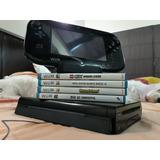 Nintendo Wii U Deluxe 32gb ( Version Negra) + 4 Juegos Usada