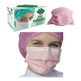Máscara Descartável Tripa Elástico Rosa - 100 Unidades