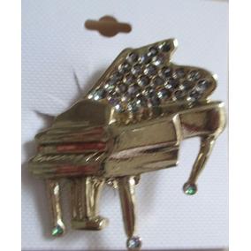 B3308 Broche Piano De Cauda Semi Joia Em Metal Dourado E Pe
