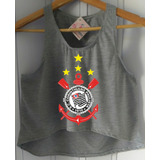 e63509ebd4 Regata Feminina Cropped Corinthians Time Futebol Camiseta