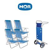 Kit 3 Cadeira Alumínio 8 Posições + Carrinho Com Avanço Mor