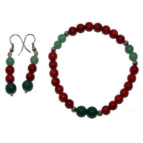 Juego De Collar, Pulsera Y Aretes De Coral Y Jade Verde