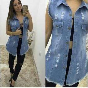 4c1f1f9702 Colete Jeans Feminino Comprido Longo Max Blogueira Gg