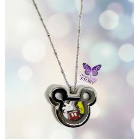 Locket Mickey Con 3 Charms Y Cadena