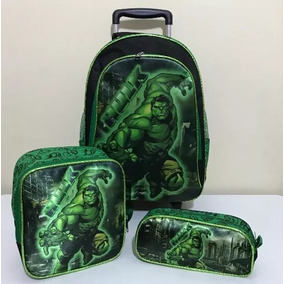Mochila Escolar Infantil Incrível Hulk Preto Com Verde Grand