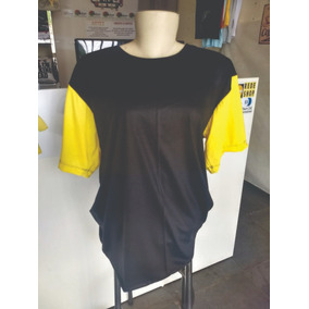 Camisetas Preta Com Mangas Amarelas Malha Pv