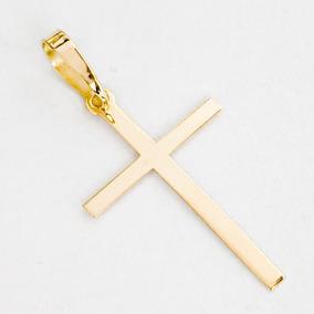 4a0925d5ca582 Pingente Cruz Crucifixo Liso M Em Ouro 18k