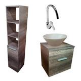 Mueble Vanitory 50 Cm Organizador Baño Monocomando Bacha