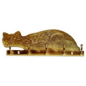 Llavero Para Colgar Bronce ( Gato ) Ab Brass( Girodi )