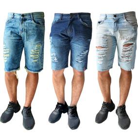 Kit 3 Bermudas Jeans Rasgada Desfiada Lançamento 2019 Verão