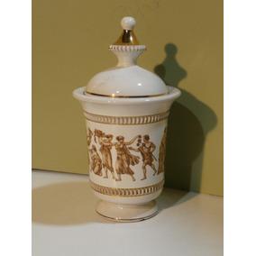 Antiguo Potiche Confitero De Porcelana Italiana Con Tapa