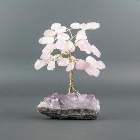 Árvore De Quartzo Rosa Com Base De Ametista / Altura 13cm