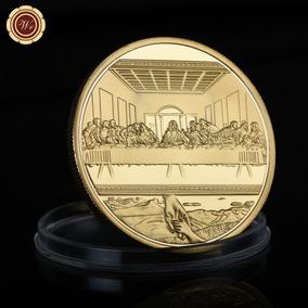 Pascoa Medalha Jesus Santa Ceia Banho Dourado Encapsulada