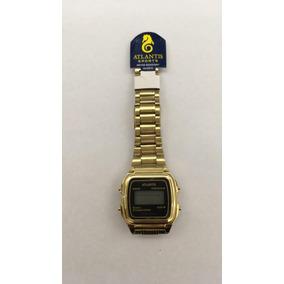 Relógio Atlantis Original Unissex Dourado 7049g P/ Entrega