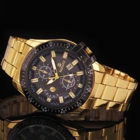 Relógio De Pulso Esportivo Analógico Unissex Dourado Aço