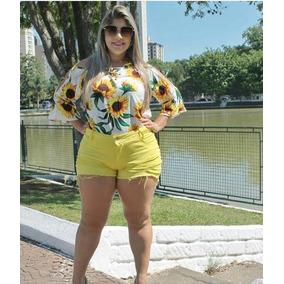 Shortinho Jeans Plus Size Feminino Cintura Alta Veste 46/60
