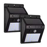 2 Luminária Com Sensor De Presença Arandela Solar 20 Leds