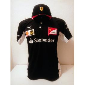 4513dec7ce Kit Camiseta Pólo + Boné Santander Ferrari Preto Lançamento